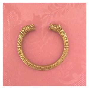 Gold Bangle with Tiger Face